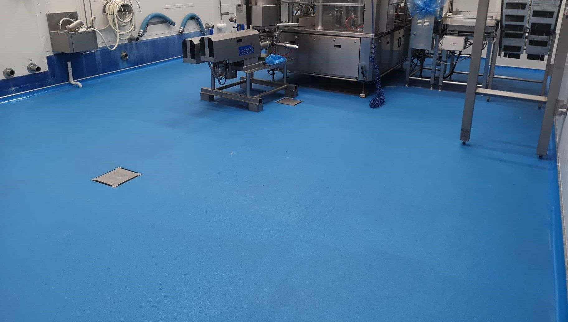 A blue coated concrete floor
