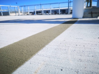 An exterior shot of a large concrete floor
